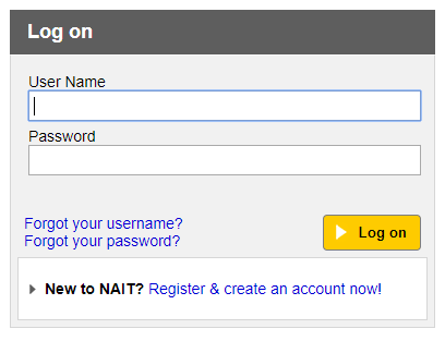 Image showing screenshot of NAIT account login
