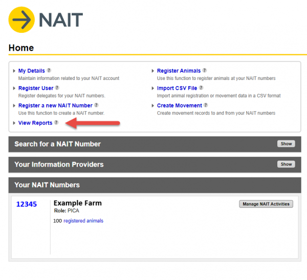 Image showing screenshot of NAIT account details
